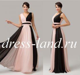 Черно-кремовое вечернее платье