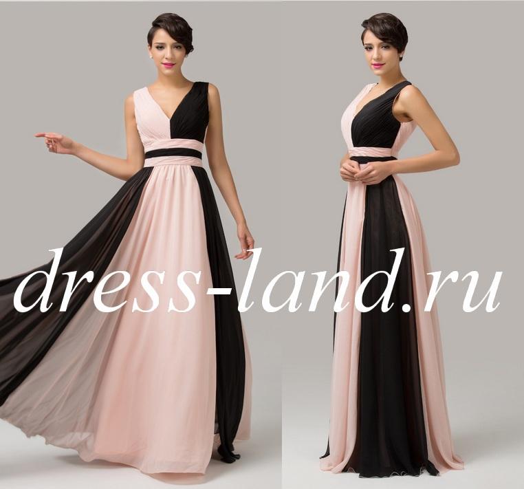 5233258389b2437 Черно-кремовое вечернее платье