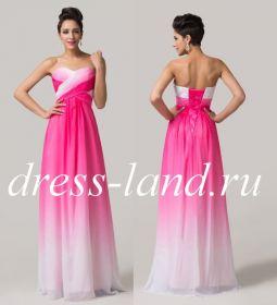 Розовое вечернее платье на шнуровке
