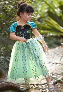 Платье Анны Холодное сердце голубые рукава 130