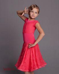 Платье для бальных танцев с гипюром, коралловое