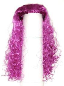 Парик с ободком маленькие кудряшки фиолетовый