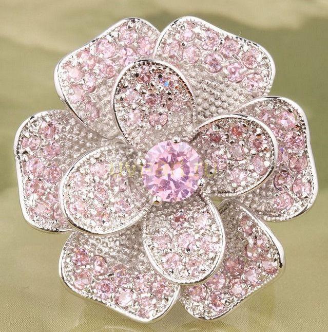 """Позолоченное белым золотом кольцо """"Волшебный цветок"""""""