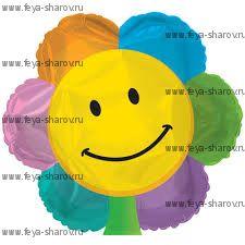Шар фольгированный Цветок-улыбка 46 см