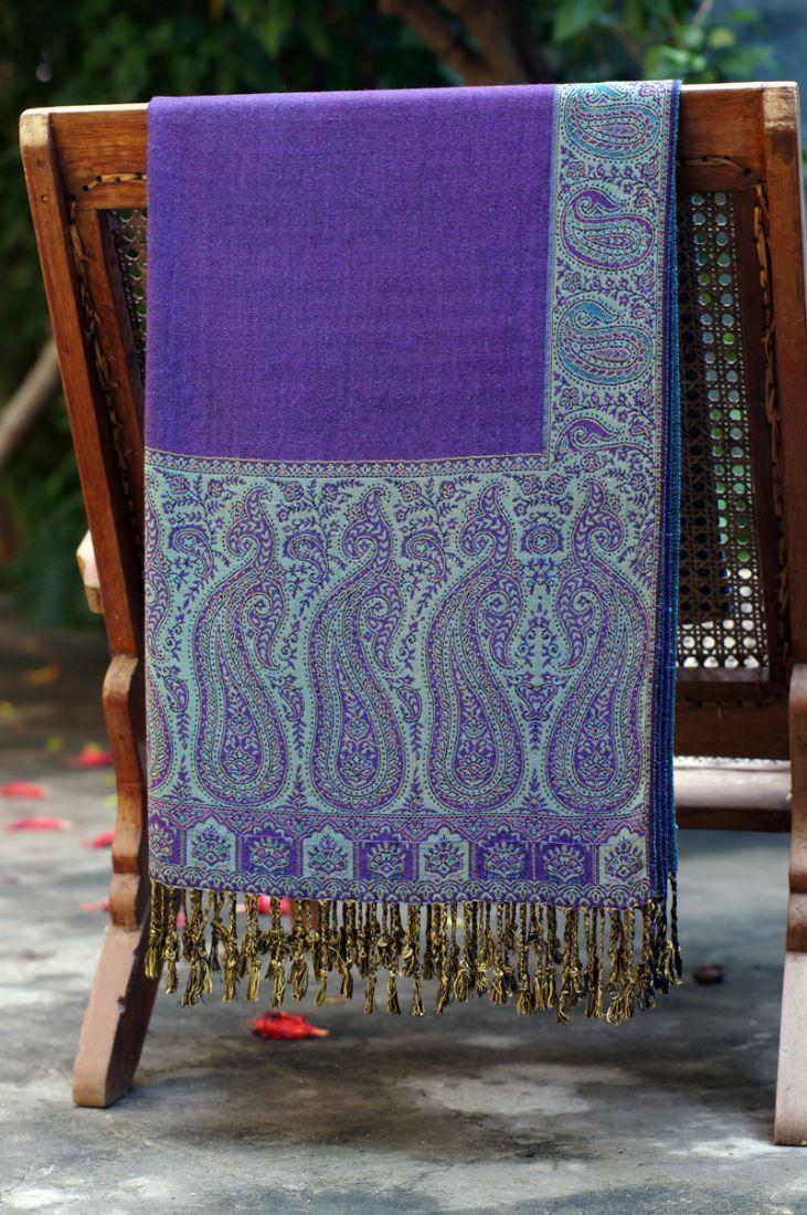 Фиолетовый с голубым палантин (отправка из Индии)
