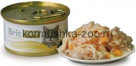 Brit консервы для кошек куриная грудка/сыр
