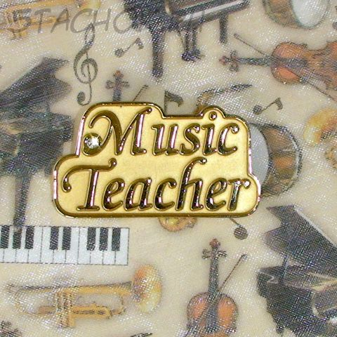 """Брошь """"Учитель музыки"""" под золото, камушек"""