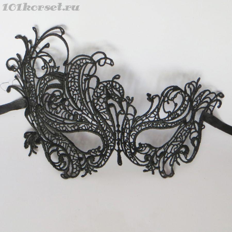 """Черная кружевная венецианская маска """"Роскошный танец"""""""