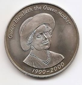 100 лет со дня рождения королевы-матери  50 пенсов Тристан да Кунья 2000