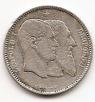 50 лет независимости (1830-1880) 1 франк Бельгия 1880  Состояние!!!