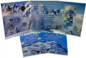 Планшет для 4-х памятных  монет и банкноты Олимпиаде  Сочи 2014 г.