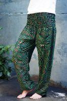 Зеленые женские индийские штаны шаровары, хлопок.