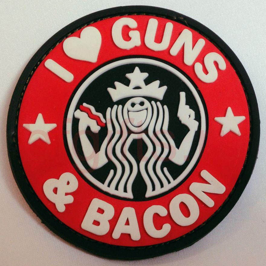 """Моральный патч ПВХ """"I love guns & bacon"""""""
