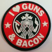 патч ПВХ I love guns & bacon""