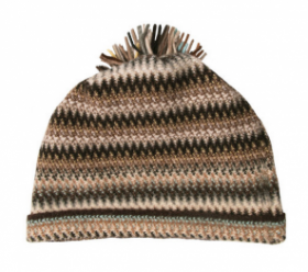 модная вязаная шотландская  шапка Zig Zag Coffee Shop Зигзаг Кофейная, плотность 7