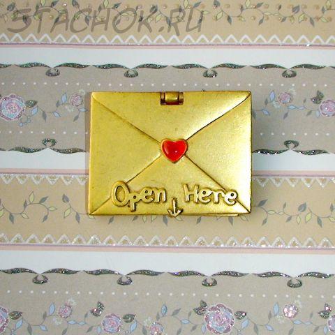 """Брошь """"Письмо лучшей мамочке"""" под матовое золото"""