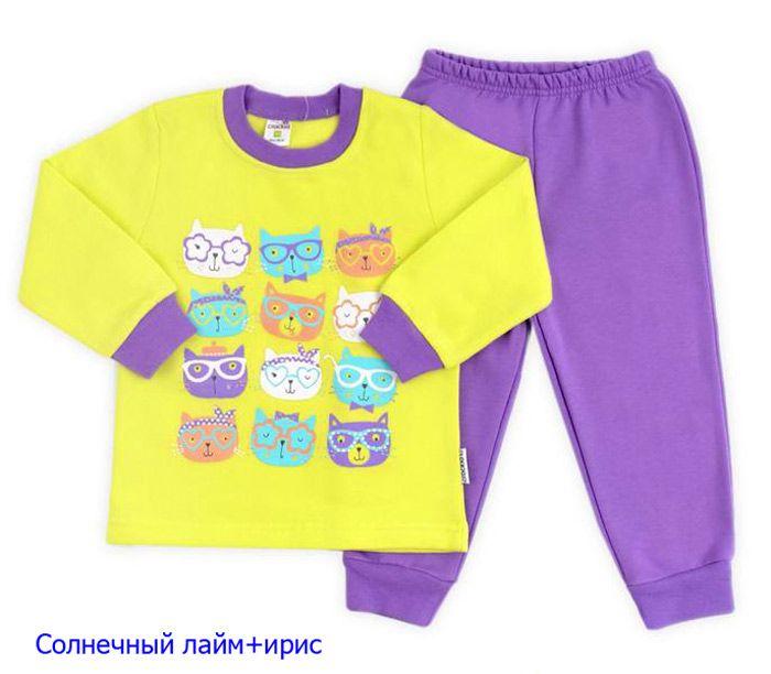 911e554c4c37 Теплая пижама для девочки из трикотажа с начесом с очаровательным ...