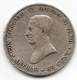 50 сентисимо Уругвай 1917 серебро