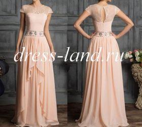 Кремовое вечернее платье со стразами