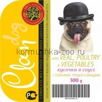 CLAN консервы д/собак телятина/птица/овощи кусочки в соусе
