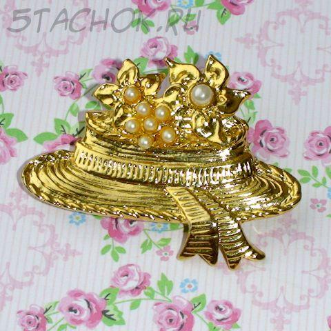 """Брошь """"Соломенная шляпка"""" под золото, камушки"""