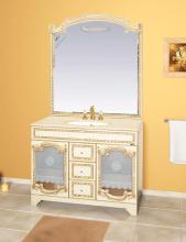 Зеркало Misty Элис 120 цвет белый, бежевая патина