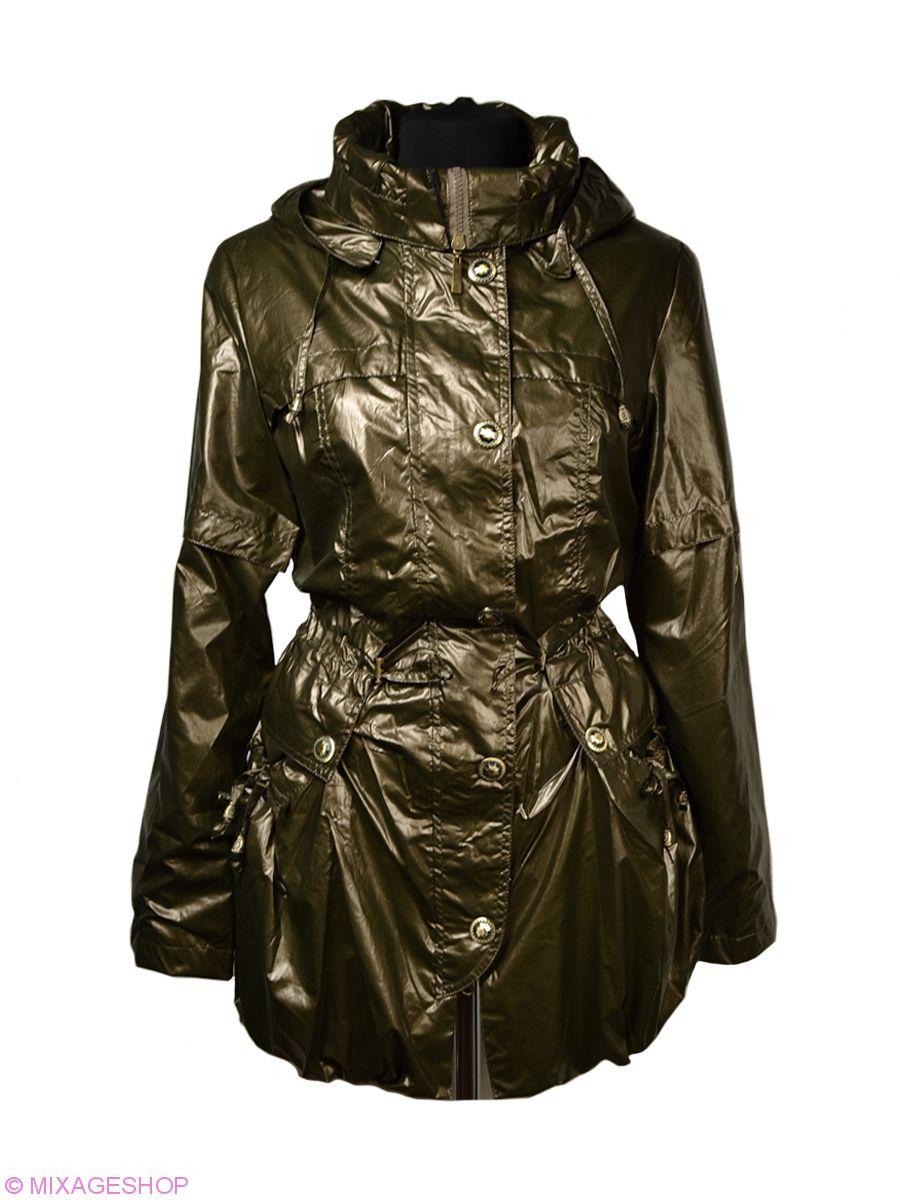 Удлиненная куртка цвета хаки из плащевой ткани
