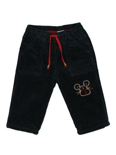 Вельветовые брюки черного цвета на флисе