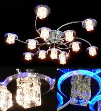 Люстра ES галоген 7030/6+6+1 хром + синяя подсветка