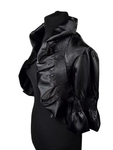 Черное атласное болеро с рукавом до локтя