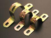 Скоба металическая двухлапковая для металлорукава