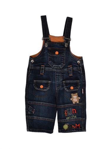 Полукомбинезон из джинсовой ткани с аппликацией