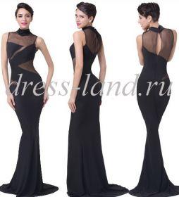 Черное вечернее платье со шлейфом