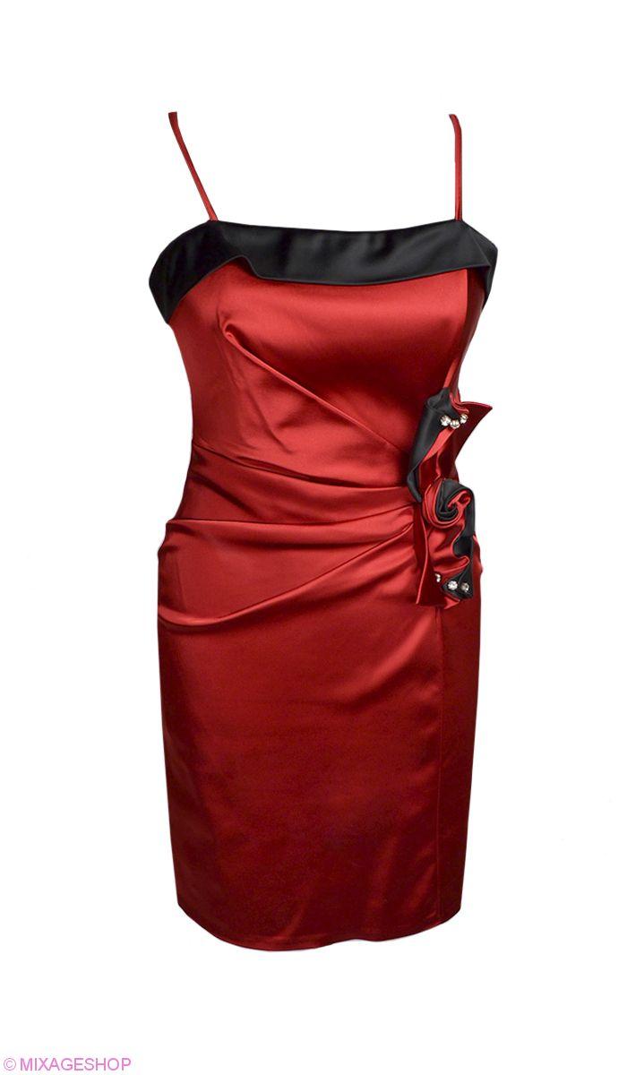 """Атласное коктейльное платье глубокого цвета """"бордо"""""""