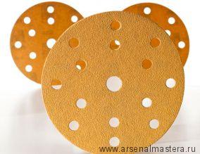 Шлифовальный круг на бумажной основе липучка  Mirka GOLD 150мм 15 отверстий P120 в комплекте 100шт