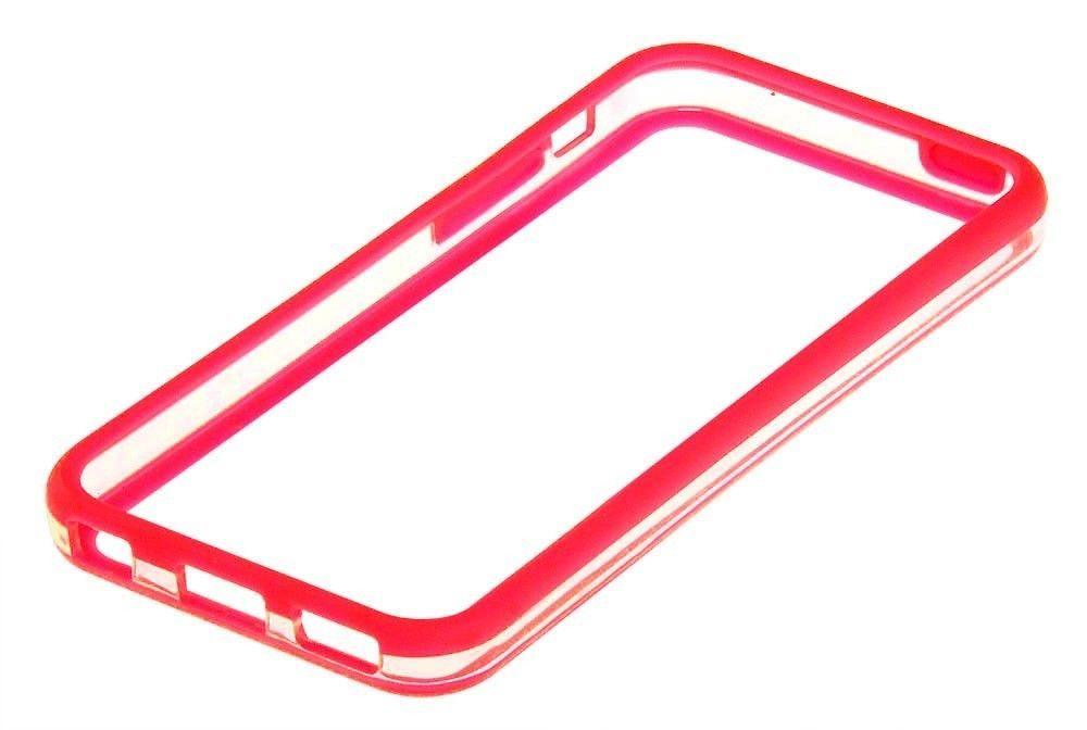 Бампер для iphone 5c (красный с прозрачным)