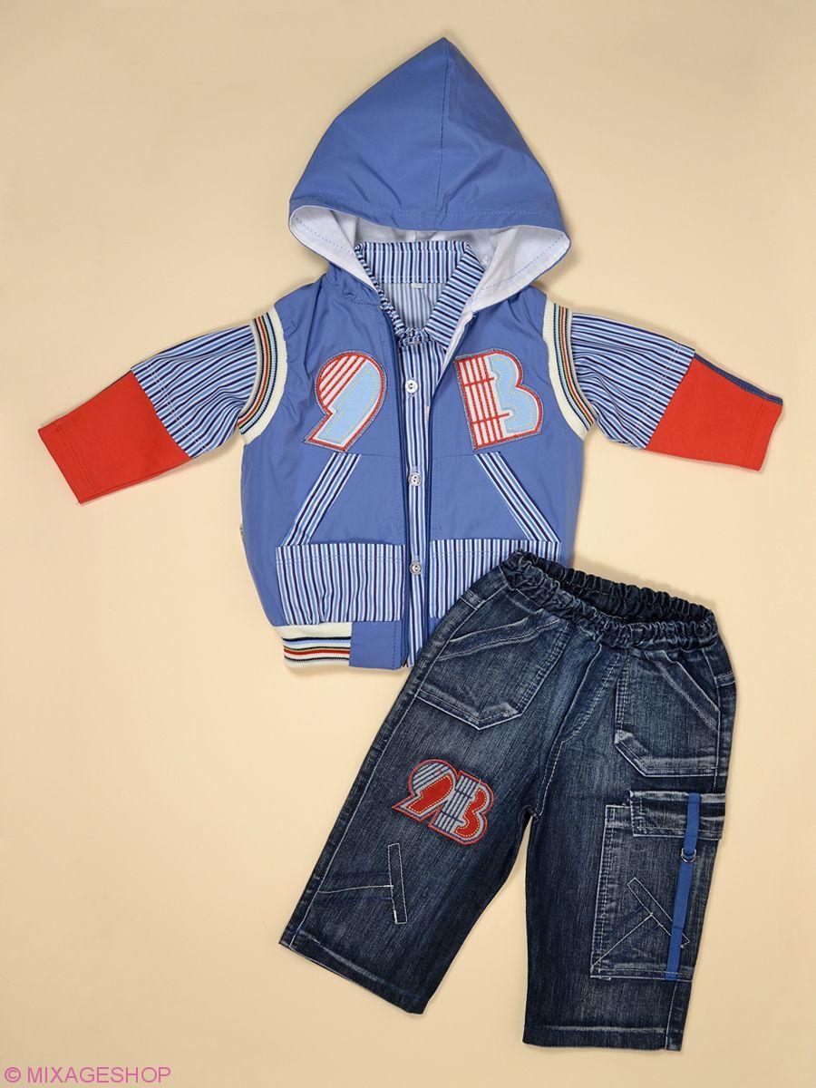 Стильный комплект: рубашка, жилетка, джинсы