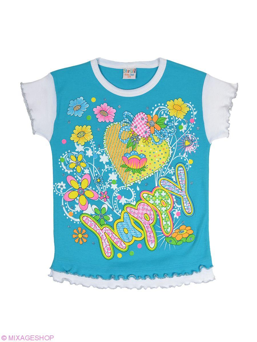 Трикотажная футболка голубого цвета с печатным рисунком