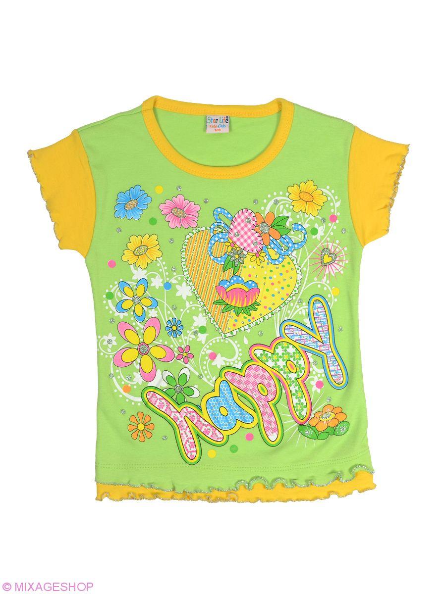 Яркая футболка из комбинирования желтого и салатового цветов
