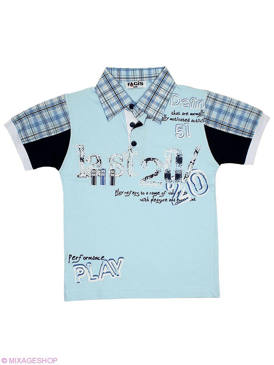 Отличная футболка-поло с клетчатыми вставками