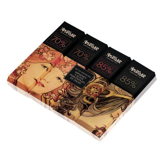 Набор шоколада Amatller 70% и 85% какао из Ганы и Эквадор - 70 г (Испания)