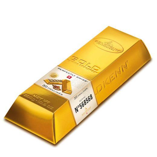 Набор шоколада Goldkenn Золотой слиток молочный пралине - 300 г (Швейцария)