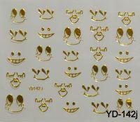 """Наклейка для дизайна ногтей на клеевой основе """"Золото"""", YD-142j"""