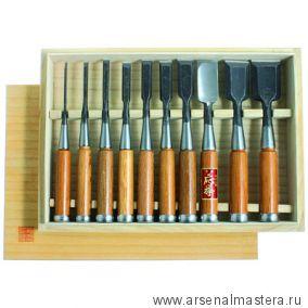 Стамески столярные Hattori комплект из 10 шт в деревянном кейсе 710016 М00003255