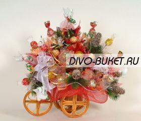 """Букет из конфет №363 """"Велосипед новогодний"""""""