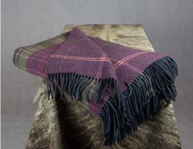 плед шотландский двусторонний, 100 % стопроцентная шотландская овечья шерсть, расцветка Вереск, плотность 10