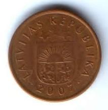 1 сантим 2007 г. Латвия