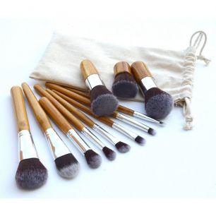 Кисти для макияжа 11 штук, набор. Бамбук