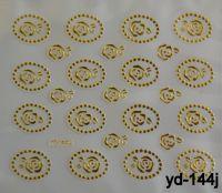 """Наклейка для дизайна ногтей на клеевой основе """"Золото"""", YD-144j"""
