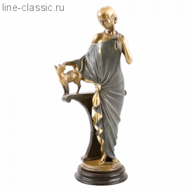 Скульптура Империя Богачо Девушка с кошкой (22042 Б)